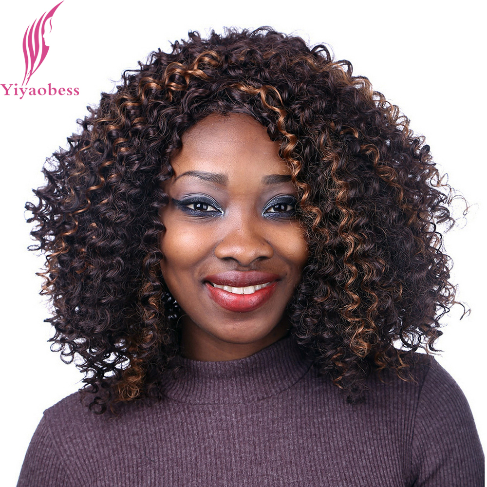 Yiyaobess 40cm Dark Brown Hair Highlights On Medium Long Curly Wigs For Black Women Heat Resistant Synthetic Afro Wig