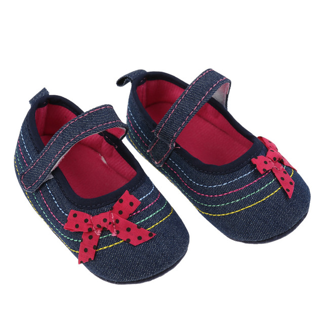 Baby Girl Shoes Denim Bowknot Baby Shoes Prewalker Walking Toddler Kids Shoes Soft Sole First Walkers 2