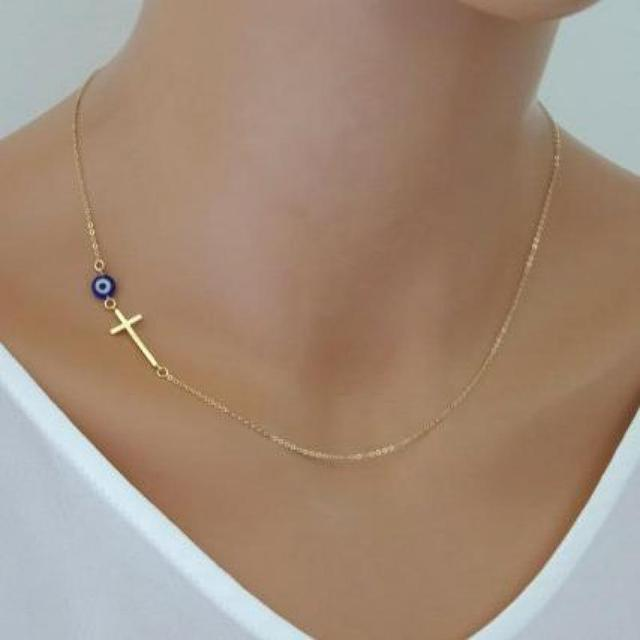 Gold Simple Cross Pendant Necklace - Celebrity Inspired  1