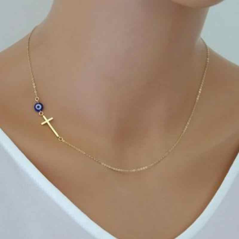 Women Sideways Gold Simple Cross Pendant Necklace Eyes Skinny Cross Celebrity Inspired Chain Necklace Bijoux Collar  Jewelry