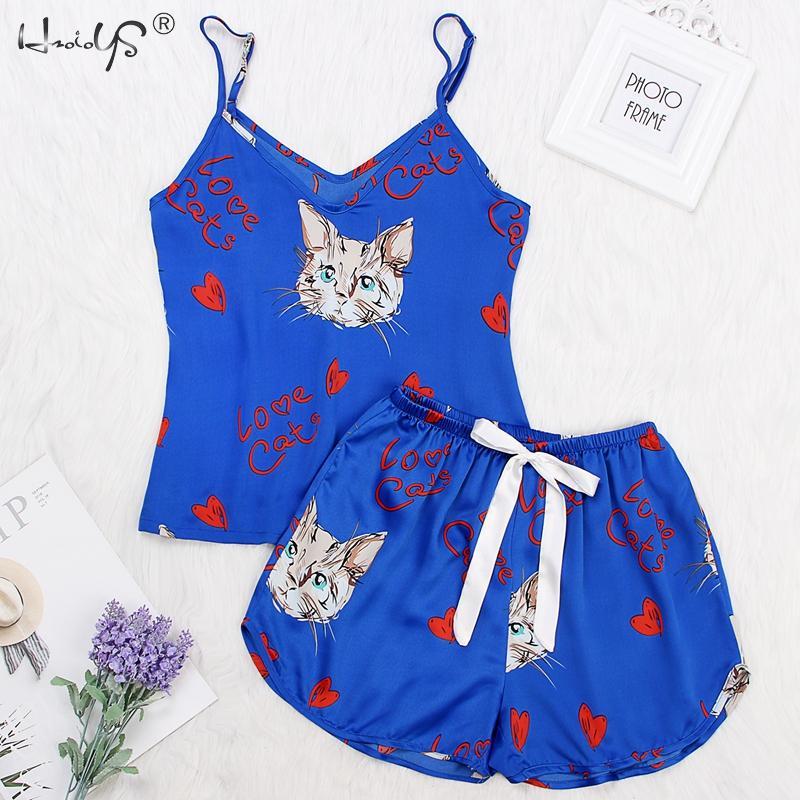 Cat Print   Pajamas     Set   V Neck Sexy Sleeveless Tops+ Shorts Sleepwear Sleep Lounge Pijama Silk Night Home Clothing   Pajama   Suit