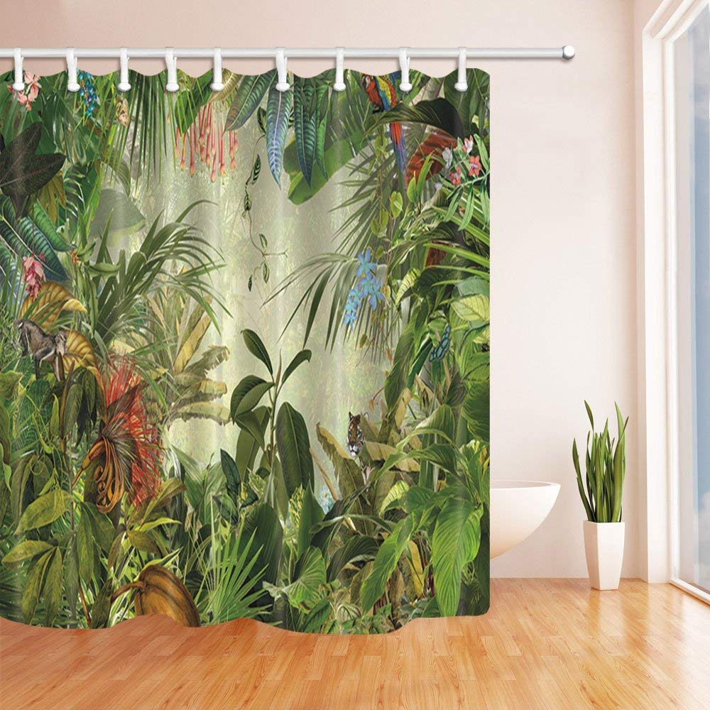 Tropical Rainforest Decor Animals In The Palm And Banana Leaves Waterproof Polyester Fabric Bathroom Shower Curtain Green