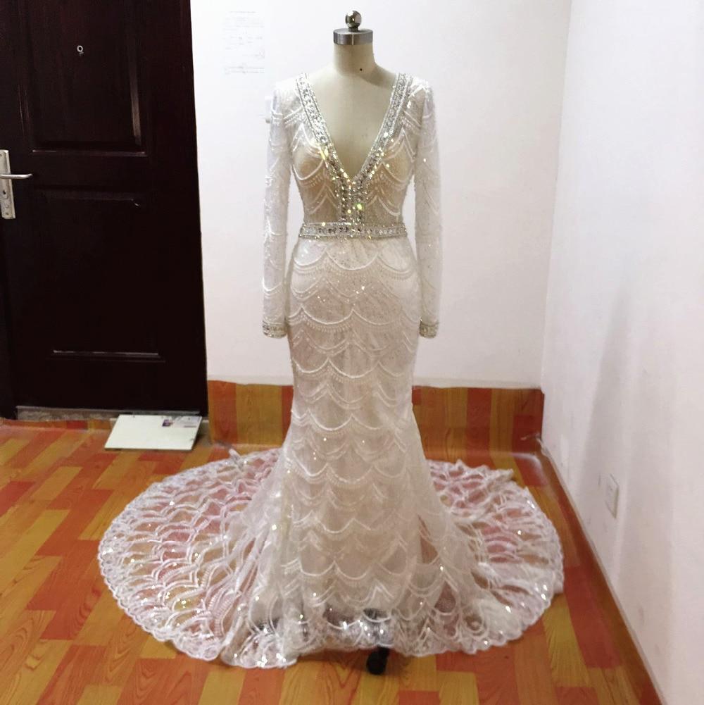 Mermaid bröllopsklänningar 2017 spets brudklänning långärmade - Bröllopsklänningar - Foto 4