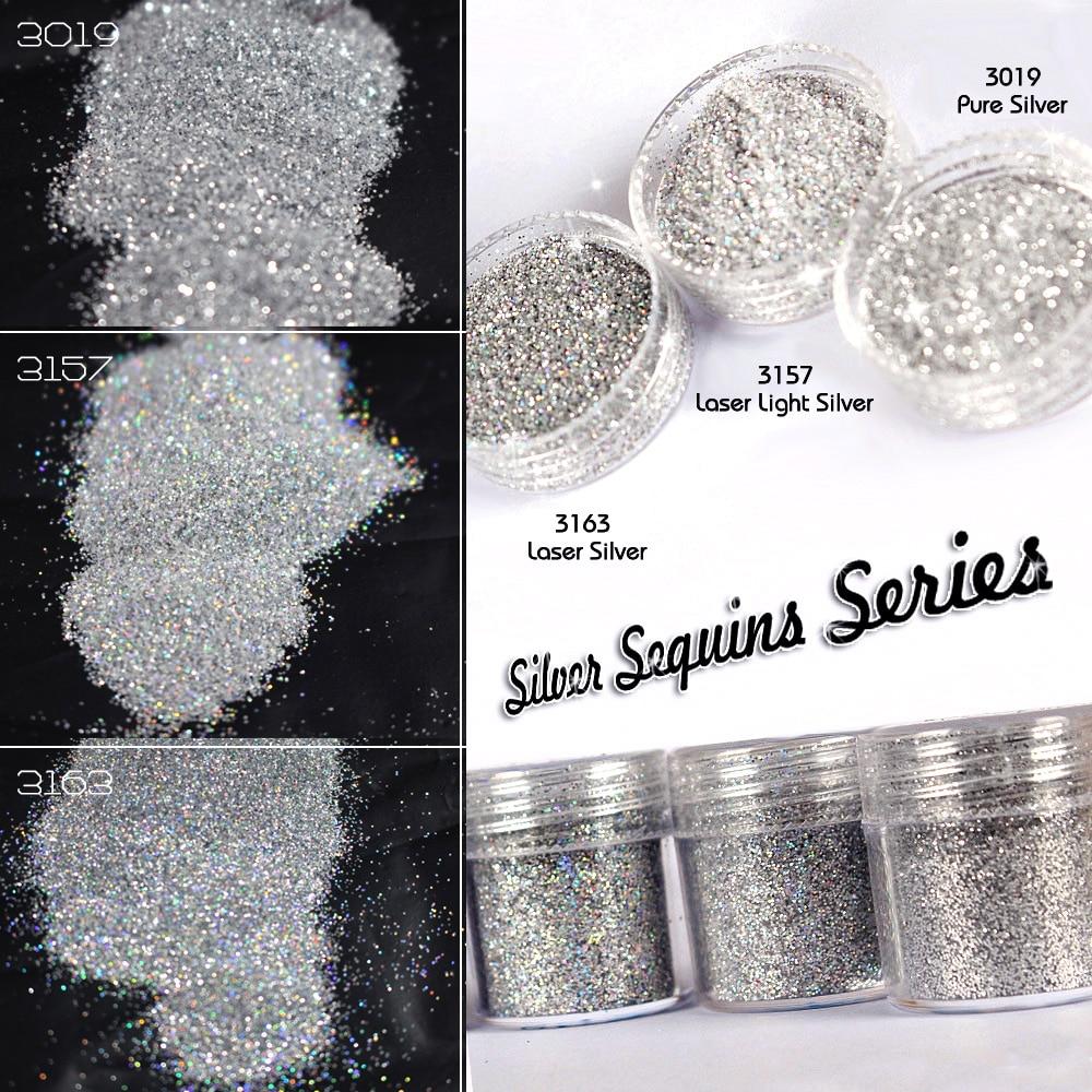 Silber-pulver Serie 10 Ml/box Silber Glitter Staub Pulver Nagel Tipps Paillette Pailletten Stunning Nail Art Maniküre Dekoration Knitterfestigkeit Nagelglitzer Schönheit & Gesundheit