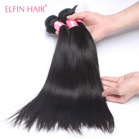 Elfin Peruvian Virgin Hair Straight 3Pcs Free Shipping 6A Grade Peruvian Human Hair Extensions Peruvian Straight Virgin Hair
