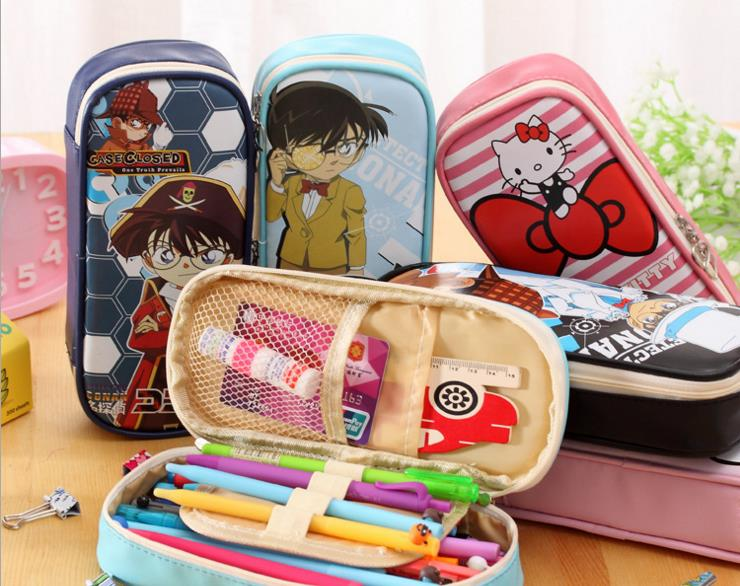 Hello Kitty children's primary and middle school students in girls' high capacity pen pencil case bag cute pencil box boy Conan promoting academic competence and literacy in school