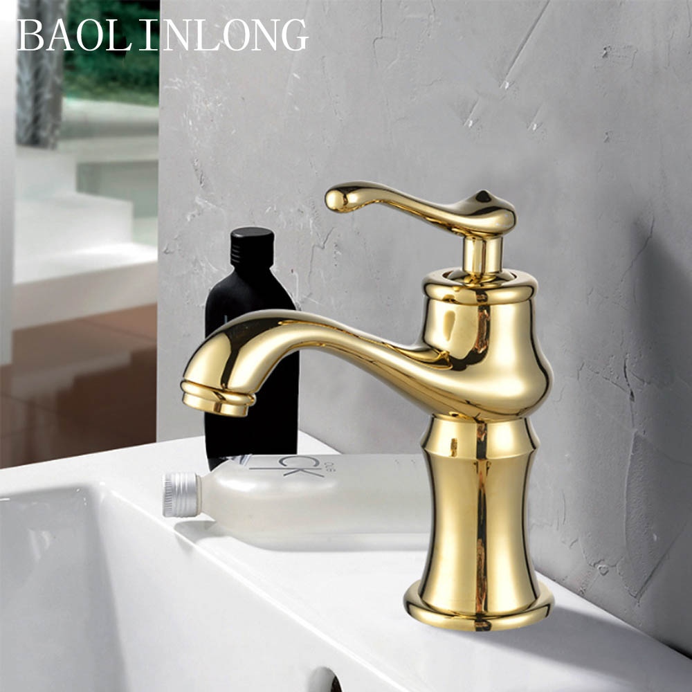 Plating Gold Brass Basin Faucet Bathroom Deck Mount Vanity Vessel Sinks Mixer Faucets Tap Cold And Hot Water in Basin Faucets from Home Improvement