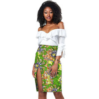 Elegant Womens African Skirt Colorful African Print Split Design Sexy Side Seam Dashiki Clothing Tailor Custom
