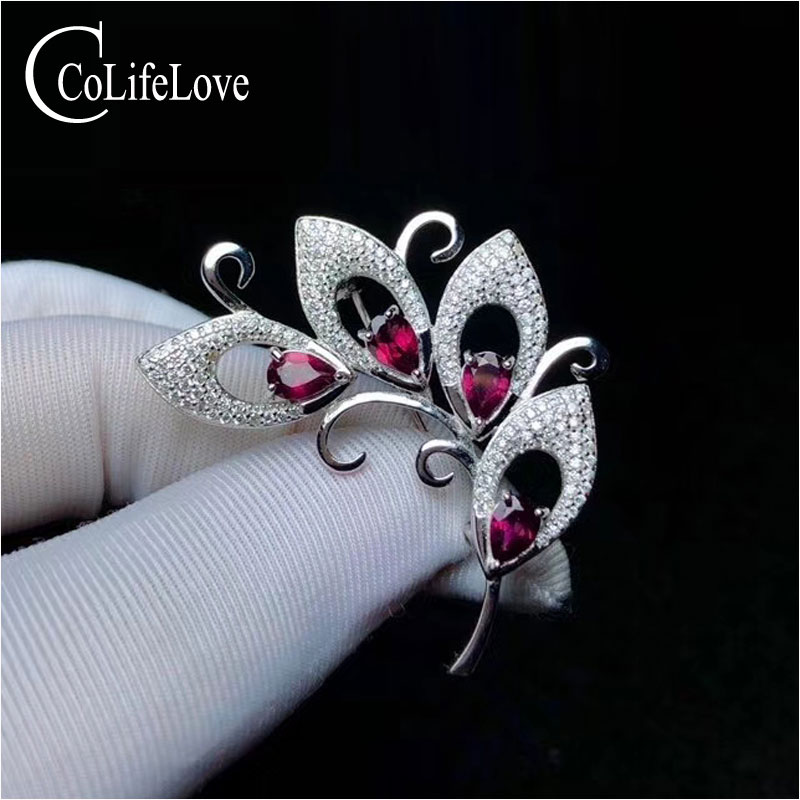 CoLife Jewelry 925 silver Brooch with gemstone 4 pieces natural pyrope brooch for party sterling silver