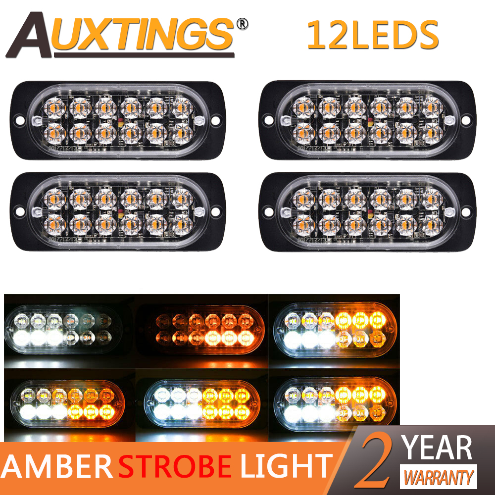 Auxting Amber 12LED 36W Car Truck Motorcycle Emergency Beacon Warning Hazard Flash Strobe Light Bar offroad Fog Lamp 12V 24V