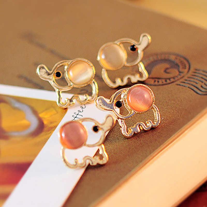 女性男性ゴールドエレファントスタッドピアス白ピンクラインストーン猫目石オパールイヤリング耳ジュエリーアクセサリーpendientes