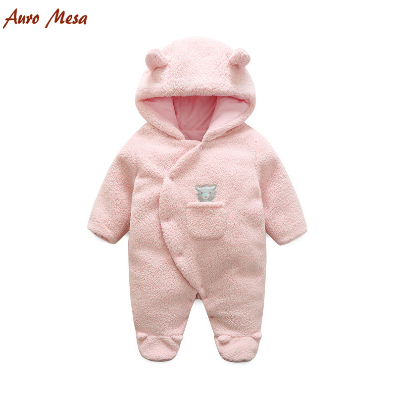 Newborn Baby Winter Clothes berber Fleece Baby Snowsuit Pink and Winter Bebes Baby Winter Romper Hooded Baby Jumper