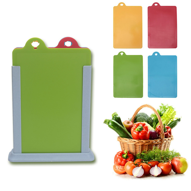 4pcs Flexible Colored Cutting Board Mats Set Premium Plastic Chopping Board Easy To Clean Eco Friendly