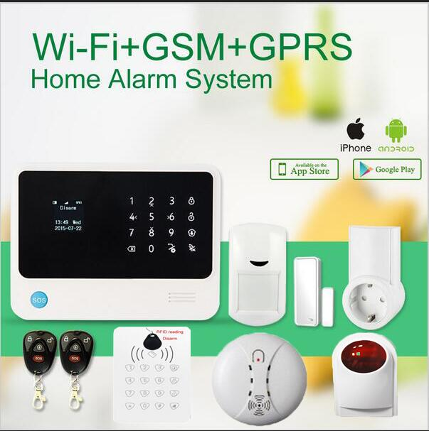 JIANSHU  wifi gsm home alarm system wireless outdoor flash siren Detector Sensor+smart socket+wireless RFID keypad wireless smoke fire detector for wireless for touch keypad panel wifi gsm home security burglar voice alarm system