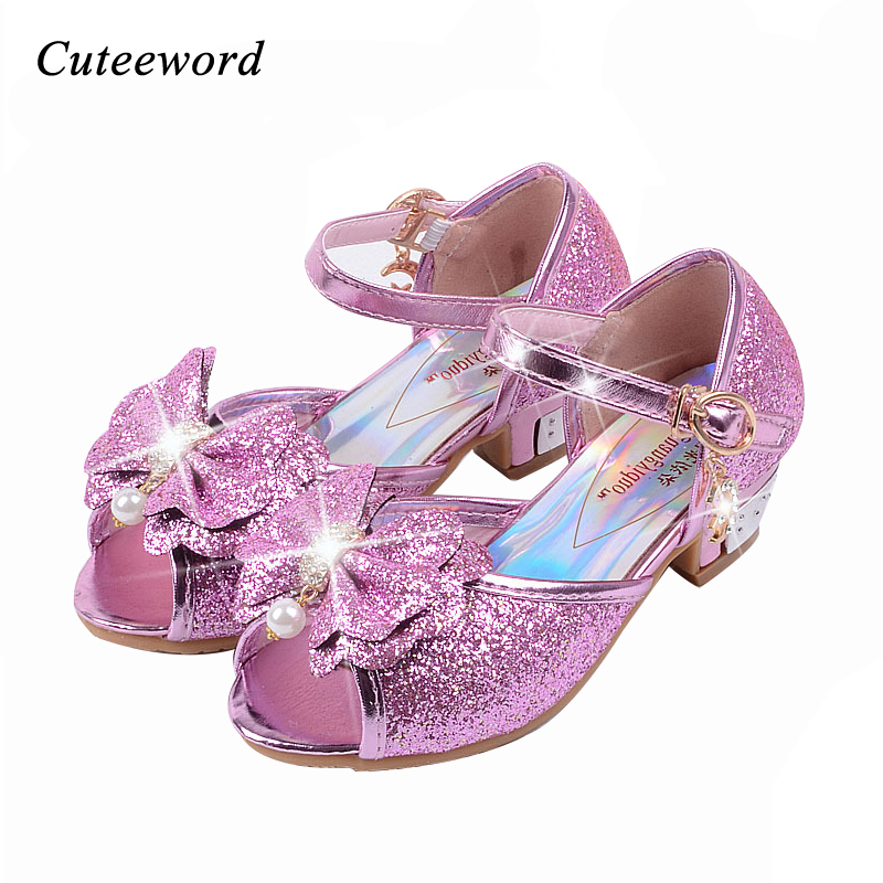 Children sandals princess style party shoes for girls glitter wedding girl sandals crystal High heel shoes Pink gold blue sandal ...