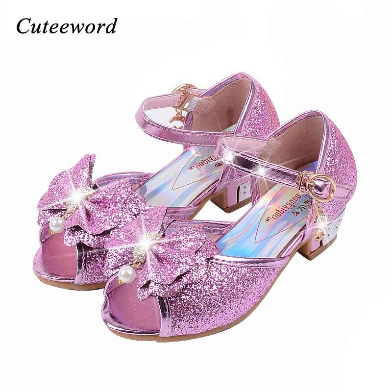 Kinder Sandalen Prinzessin Stil Partei Schuhe Für Mädchen Glitter Hochzeit Mädchen Sandalen Kristall Hohe Ferse Schuhe Rosa Gold Blau Sandale Zahlreich In Vielfalt