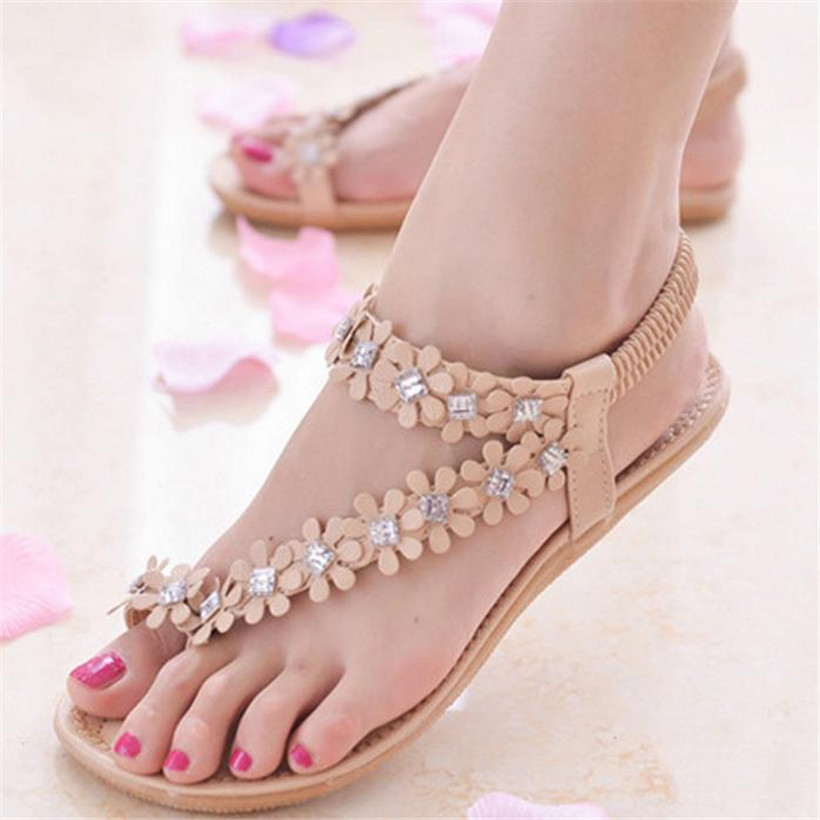 2018 New Sandals Women Fashion Summer Bohemia Flower Beads Flip-flop Shoes Casual Beach Flat Casual Ladies Sandals Shoes