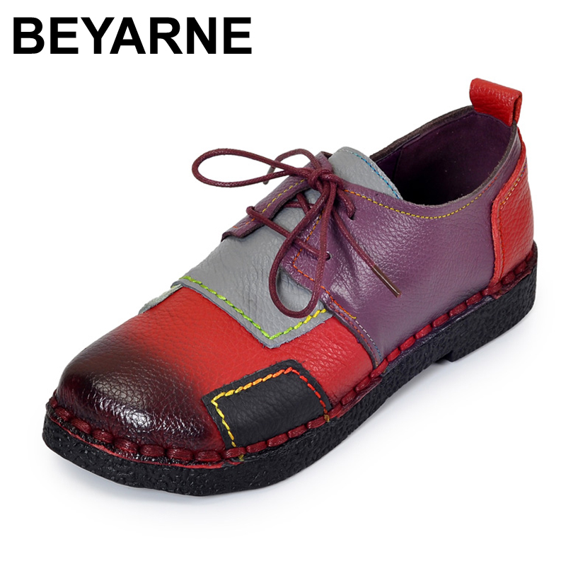 BEYARNE Women's Handmade Shoes Genuine Leather Flat Lacing Mother Shoes Woman Loafers Soft Single Casual Shoes Women Flats gross 20801