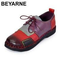 BEYARNE vrouwen Handgemaakte Schoenen Lederen Platte Veter Moeder Schoenen Vrouw Loafers Zachte Enkele Casual Schoenen Vrouwen Flats
