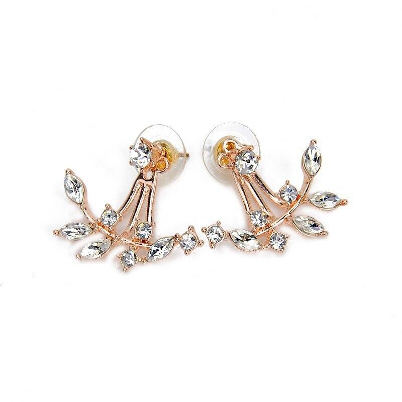 6ed8dcc6f 2019 New Zircon Crystal Ear Cuff Clip Leaf Double Stud Earrings For Women  Jacket Piercing Earrings Fashion Jewelry CE154-in Stud Earrings from  Jewelry ...