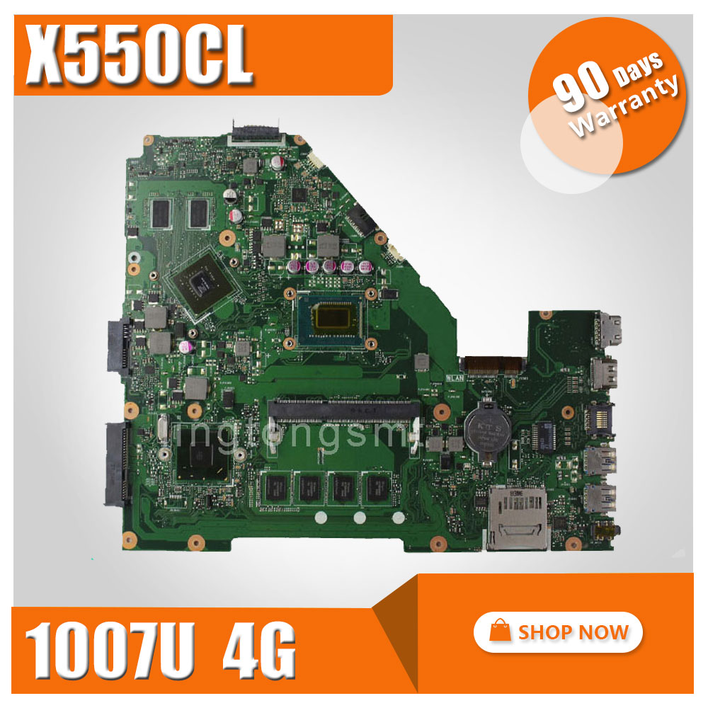 for ASUS X550CL laptop motherboard X550CC R510CC X550CL rev2.0 Mainboard 1007u 4G 1600 MHz HM76 Chipset DDR3 fully tested ytai 1007u processor for asus x200ca laptop motherboard hm70 usb3 0 rev 2 1 with 1007u 4g ram mainboard fully tested