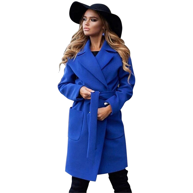 MVGIRLRU elegant Long Women's coat lapel 2 pockets belted Jackets solid color coats Female Outerwear 4