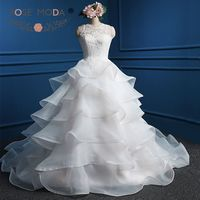 Rose Moda Organza Wedding Dress White Ivory Pink Wedding Dresses with Ruffles Cut Out Back Real Photos