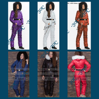 Women Down Jackets Winter Girl's Bodysuits Down Snow Wear Female Jumpsuits with Large Natural Fur Cap