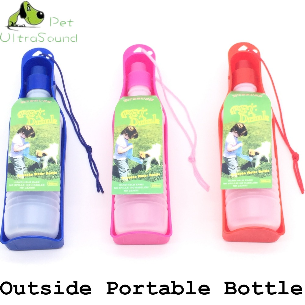 250ml 500ml Dog Water Bottle Feeder With Bowl Plastic Portable Water Bottle font b Pets b