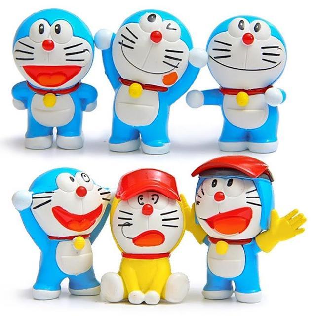6 Pcs Lot Anime Kartun Doraemon Aksi Angka Diy Olahraga