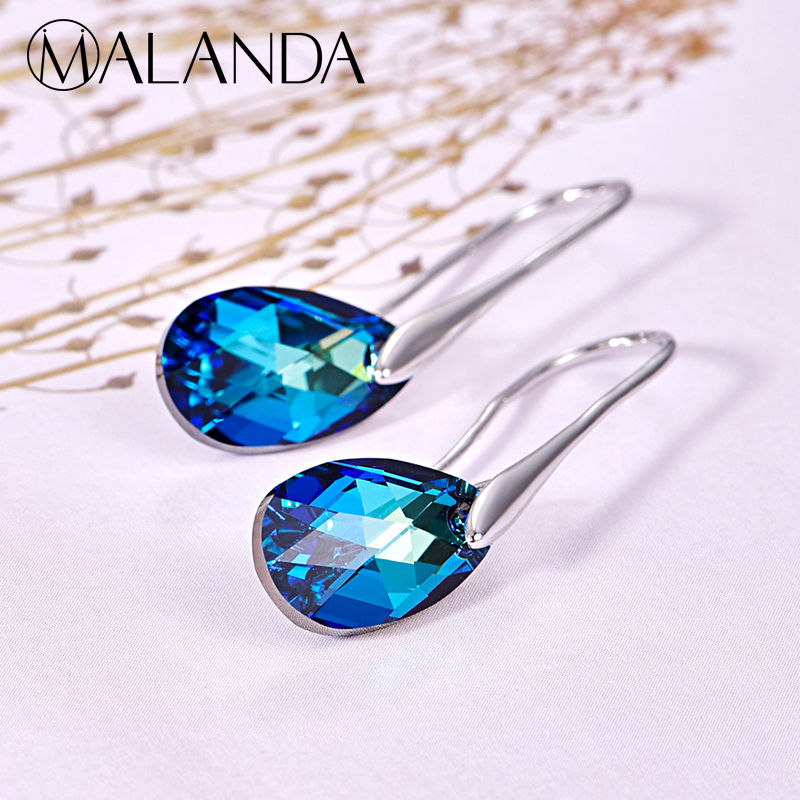 MALANDA Water Drop Earrings For Women New Fashion Crystal From SWAROVSKI Silver Color Pendant Dangle Earrings Jewelry Girls Gift pair of sweet simply designed water drop pattern pendant earrings for women