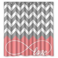 CHARM HOME Love Infinity Forever Love Symbol Chevron Pattern Pink Grey White Waterproof Bathroom Fabric Shower