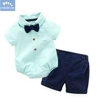 Boys Gentlemen S Casual Suit Clothes 2pcs Shirt Romper Pants Baby Newborn Infant 2018 Fashion Formal