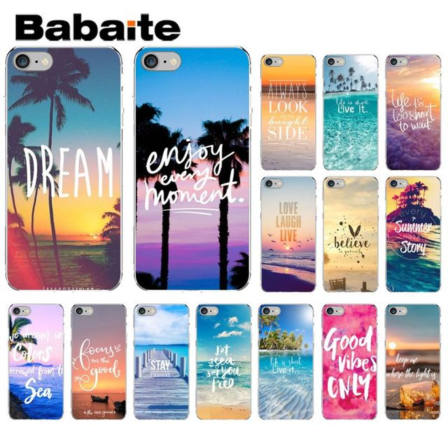 online store 23b7d 57fd0 US $1.69 |Babaite Summer Blue Sky Beach Quotes Pattern TPU Phone Cell Phone  Case for Apple iPhone 8 7 6 6S Plus X XS MAX 5 5S SE XR Cover-in ...