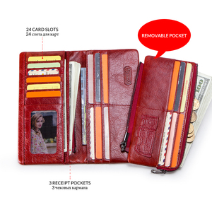 Image 4 - 연락처 100% 정품 가죽 지갑 여성 긴 동전 지갑 Hasp 디자인 클러치 백 무료 조각 카드 홀더 지갑 Cartera