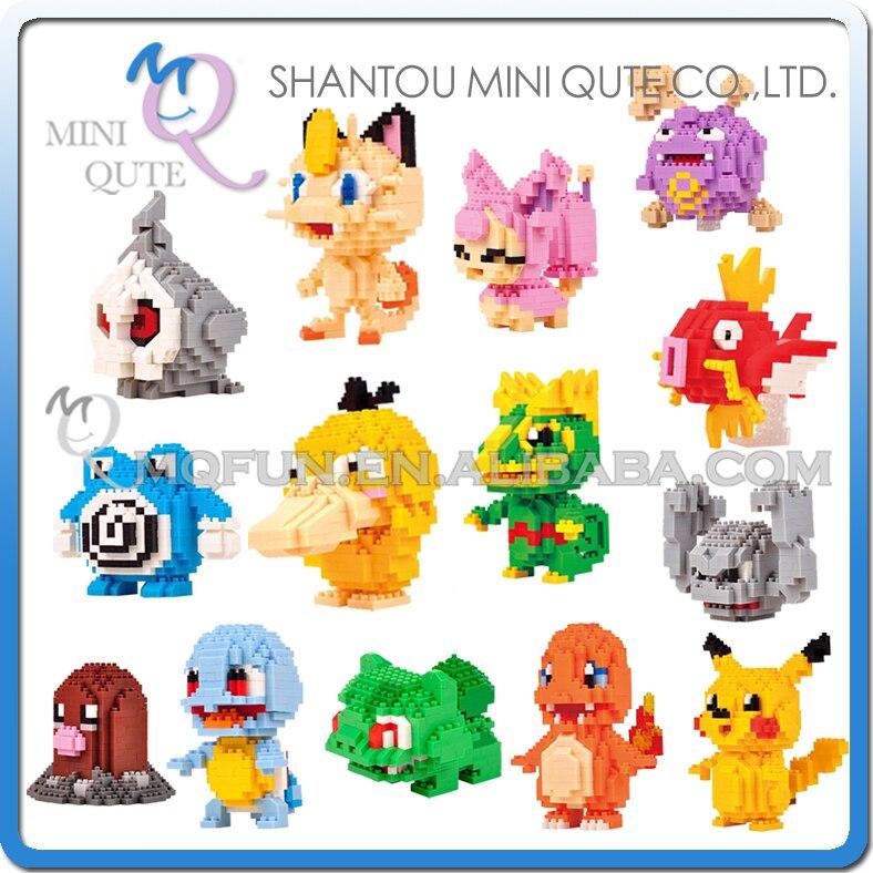Ensemble complet 14 pièces Mini Qute LNO Kawaii jeu D'anime dessin animé cadeau pikachu Carapuce Salamèche en plastique bloc de construction jouet éducatif
