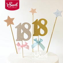 "10 PCS Gold Silver Number ""18"" Bowknot Rites of Passage Cake Topper Decoration Wedding Birthday Party Gifts CK854"