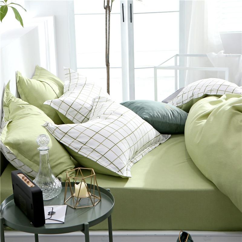 Slowdream Green Bed Sheet Set Plain Bedspread Simple Nordic Duvet Cover Set Bedclothes Decor Adult Comfort Bedding Set Pillowcas in Bedding Sets from Home Garden