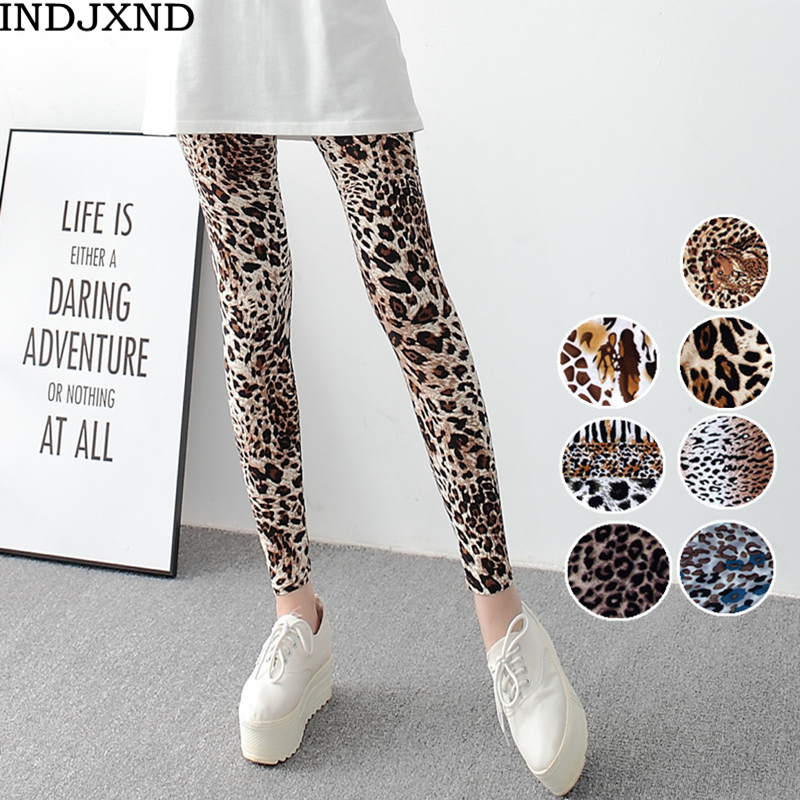 INDJXND Women Gimnasio Aptitud Sexy Leggings 2018 Fashion Elasticity Digital Print Leggins Comfortable Leggings Leopard Print