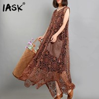 IASK New Summer 2018 Fashion Tide Black Loose Sleeveless Tank O Neck Embroidery Hottow Out