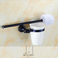 Antique Brass & Crystal Toilet Brush Holder,Black Oil Brushed Toilet brush Bathroom Products New Arrivals Cleaning Brush
