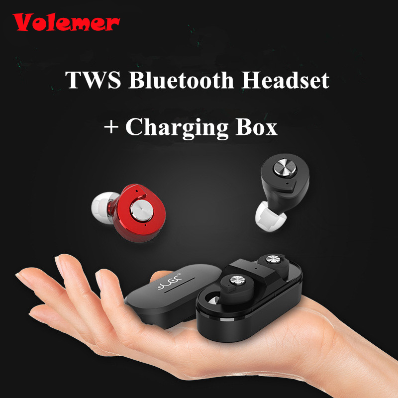 Volemer Hot TWS Bluetooth Headset for iPhone 7 Dual Stereo Wireless Bluetooth Earphone Hifi Earbuds in Ear Headphones PK Q29 H02 remax s2 bluetooth headset v4 1 magnet sports headset wireless headphones for iphone 6 6s 7 for samsung pk morul u5