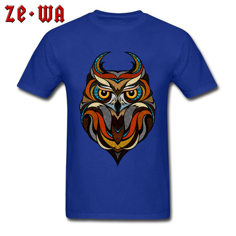 Customized Decorative Owl Mens T-Shirt 2018 Summer Short Sleeve Crewneck 100% Cotton Tops T Shirt Printing Tops T Shirt Decorative Owl  blue