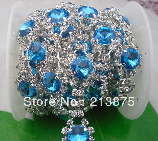 Free shipping 1 Yard 14mm Lake blue glass crystal rhinestone close silver  chain claw trim Wedding dress Wedding Decoration 27dac31d8475