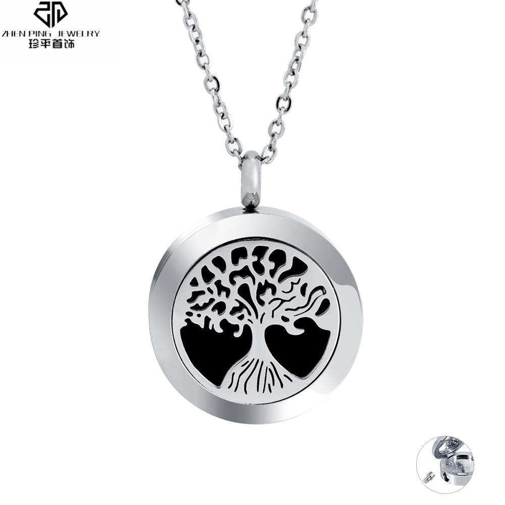 Moda Árbol de la vida Aceite esencial Difusor Medallón Colgante Collar Acero inoxidable Urna de cremación para mascotas Cenizas