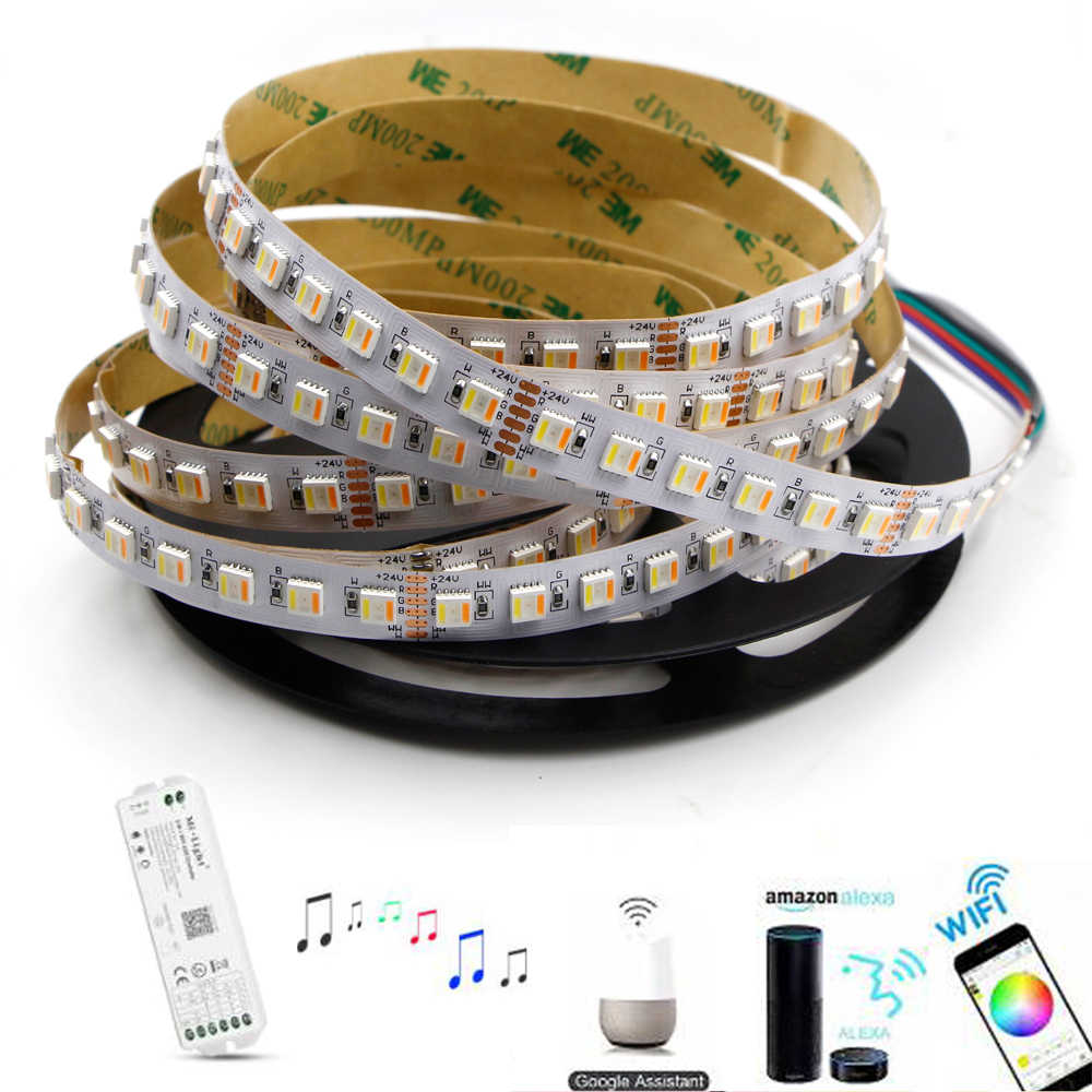 Smart RGB + CCT LED Strip 12mm breed 5in1 chip dimmer rgbw RGBWW rgb cct wifi controller strip licht alexa Draadloze diode tape 5m