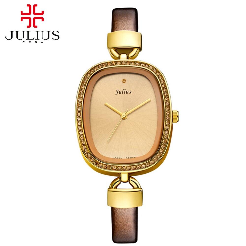 Prix pour 2016 Femmes de Cru montre-bracelet Femmes Autrichien strass montres mode casual Japon quartz montre Top marque Julius 298 horloge