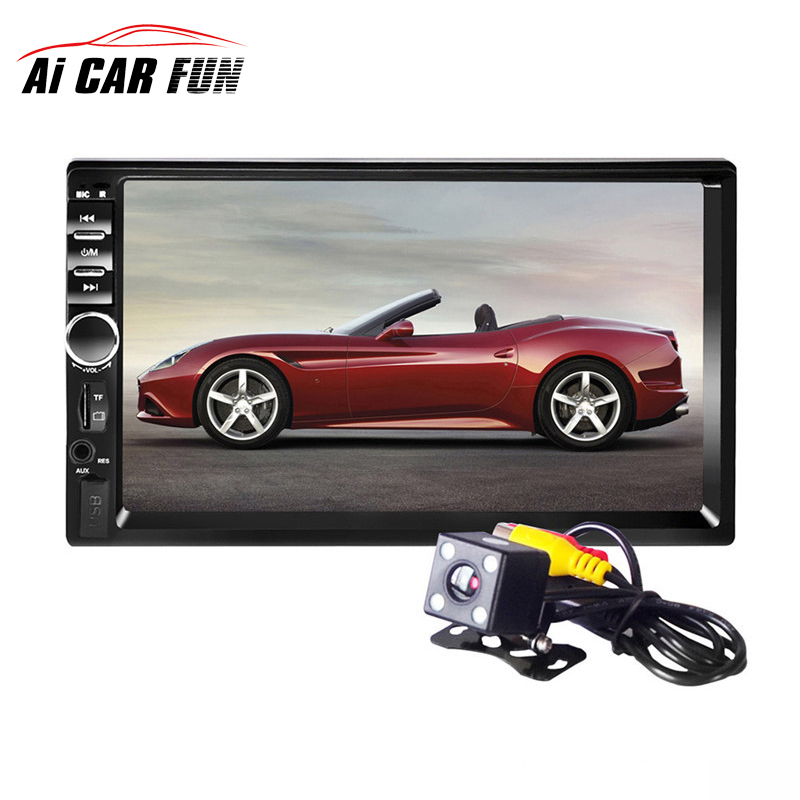 2017 7018B Bluetooth2.0 7inch 2DIN Car Radio Audio Stereo Player Handsfree TFT Taouch Screen Car MP5 Player TF/SD MMC USB FM 7 hd 2din car stereo bluetooth mp5 player gps navigation support tf usb aux fm radio rearview camera fm radio usb tf aux