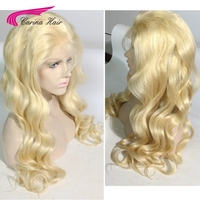 Carina Hair Pure 613 Blonde Full Lace Wigs With Baby Hair Bleached Knots Brazilian Body Wave Remy Human Hair Wigs Pre plucked
