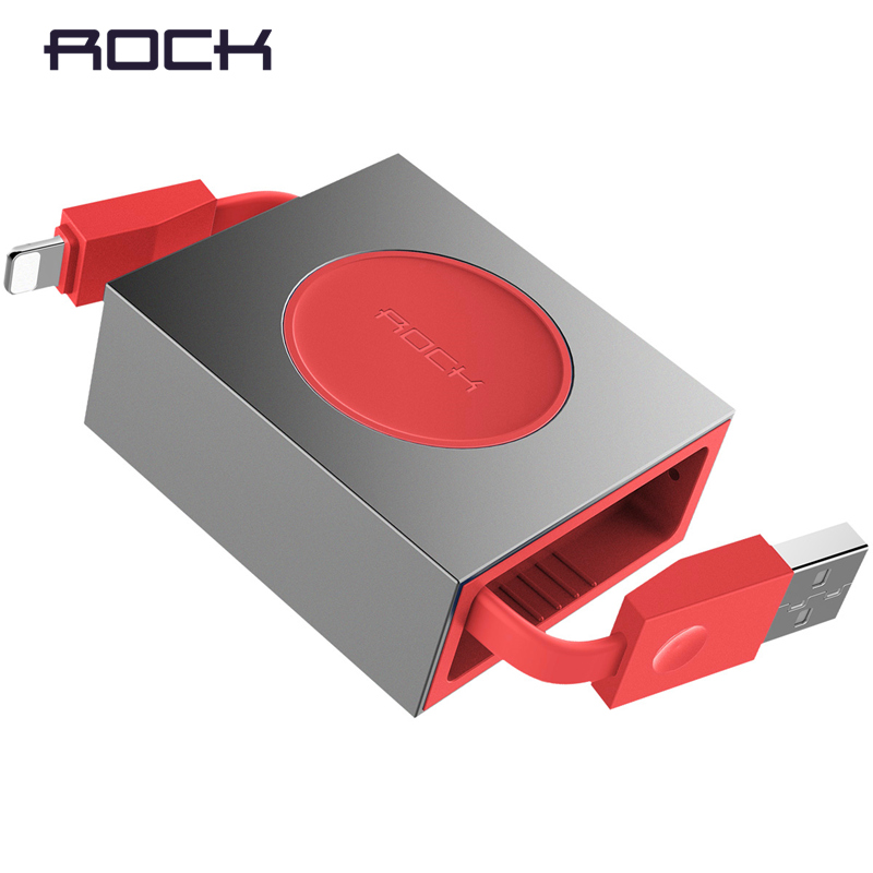 ROCK Retractable USB Cable for iPhone X 8 7 6 Stretchable 8-pin Fast Charging Cable for iPhone charger Data Sync Cable for iPad